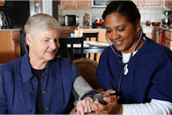 Home health care worker and an elderly couple - alzheimers
